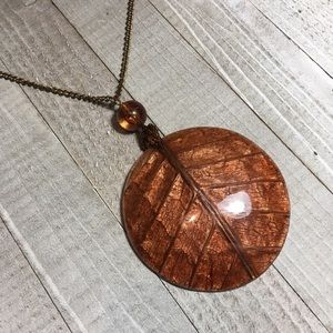 Vintage Bronze Tone Abstract Pendant Necklace